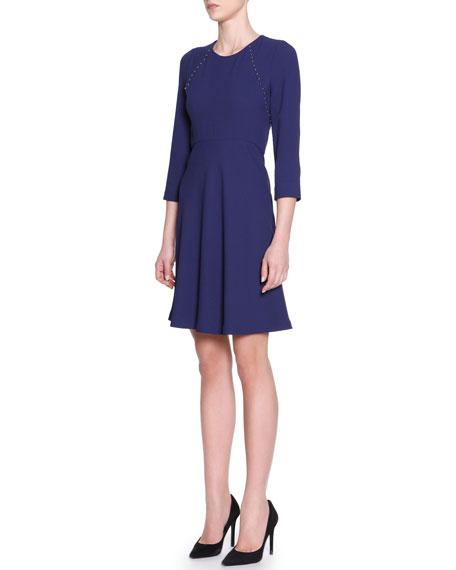 3/4-Sleeve Cady Dress with Studs