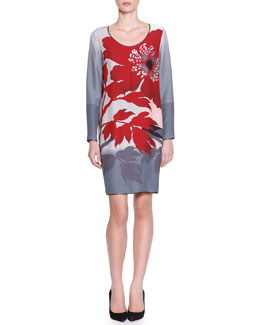 Piazza Sempione Long-Sleeve Floral Viscose Dress