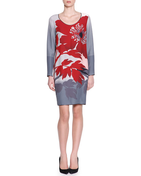 Long-Sleeve Floral Viscose Dress