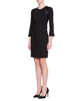 Piazza Sempione 3/4-Sleeve Jersey Dress with Leather Trim