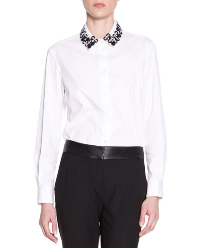 Piazza Sempione Embellished-Collar Poplin Blouse