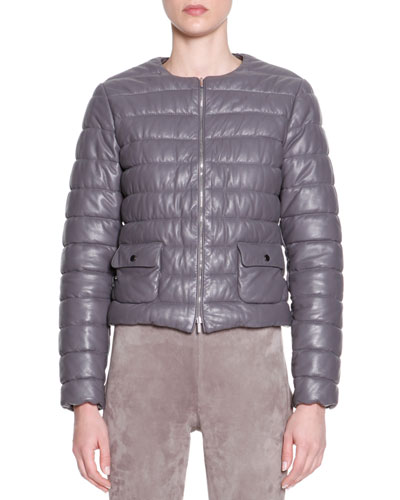 Piazza Sempione Lambskin Leather Puffer Jacket