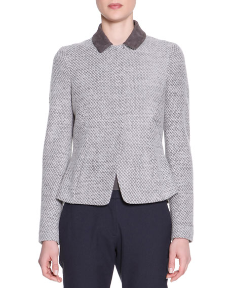 Suede-Trim Drawstring Zip Jacket