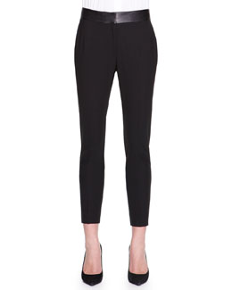 Piazza Sempione Leather-Waist Ankle Pants