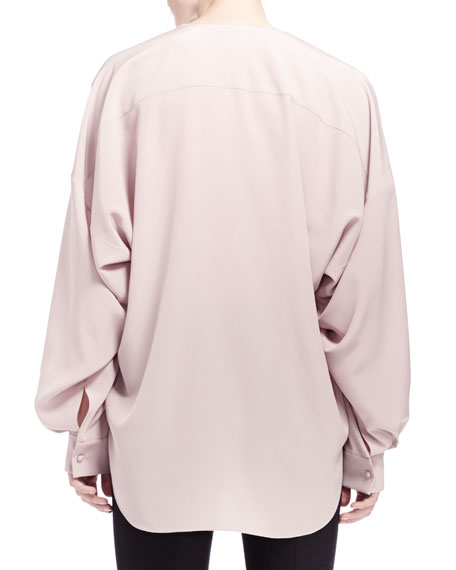 Crepe Butterfly-Sleeve Blouse
