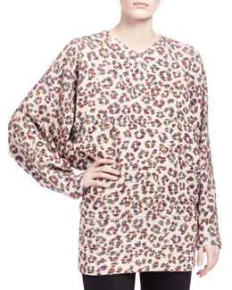 Chloe Long-Sleeve Animal-Print Blouse