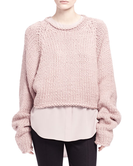 Hand-Knit Cropped Sweater