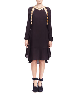 Chloe Long-Sleeve Medallion Dress