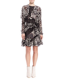 Chloe Shadow Spots Tiered Ruffle Dress