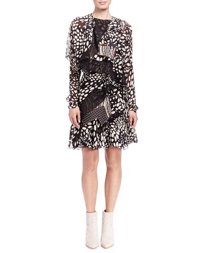 Chloe Shadow Spots Tiered Ruffle Dress