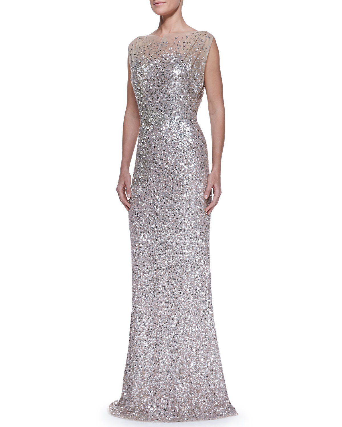 Jenny Packham Beaded & Sequined Gown, Silver/Nude | Neiman Marcus
