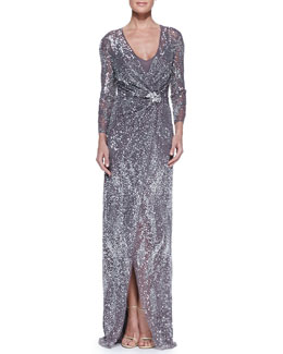 Jenny Packham Beaded Long-Sleeve Gown with Wrap Front