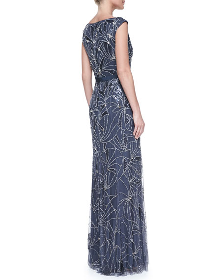 Boat-Neck Comet-Beaded Gown, Galaxy