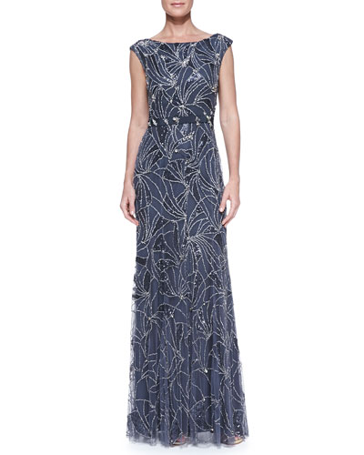 Jenny Packham Boat-Neck Comet-Beaded Gown, Galaxy