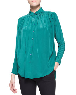 Kenzo Gathered Silk Crepe Blouse