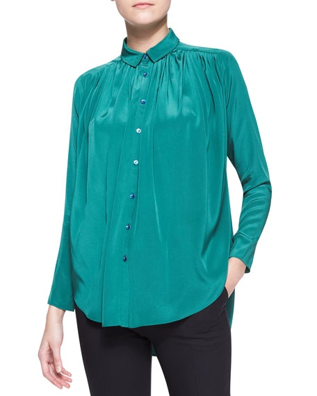 Gathered Silk Crepe Blouse