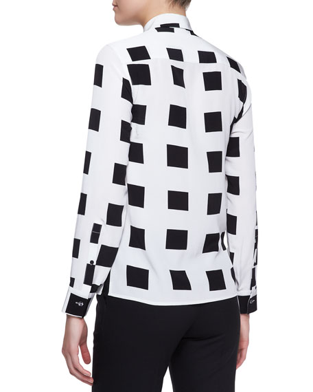 Sequined Square-Print Blouse