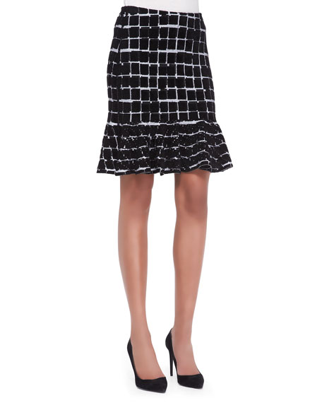 Square-Print Flounce Skirt
