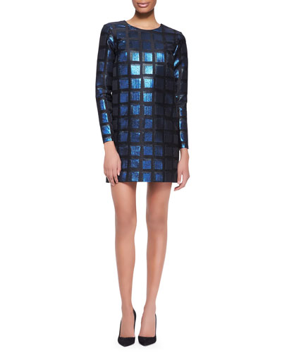 Kenzo Long-Sleeve Shimmery Square Dress