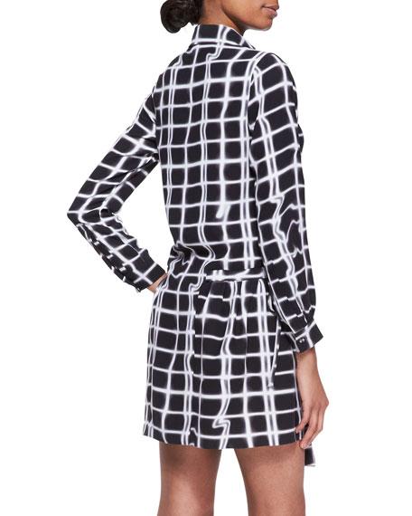 Grid-Print Wrap Shirtdress