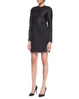 Kenzo Long-Sleeve Striped Tech Dress