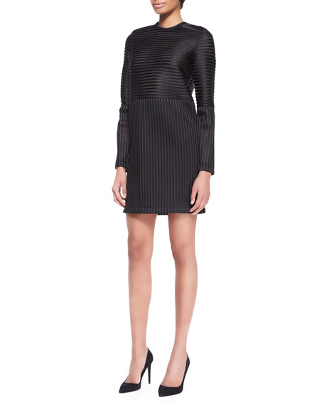 Long-Sleeve Striped Tech Dress