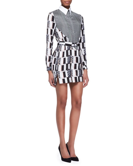 White Noise Printed Shirtdress