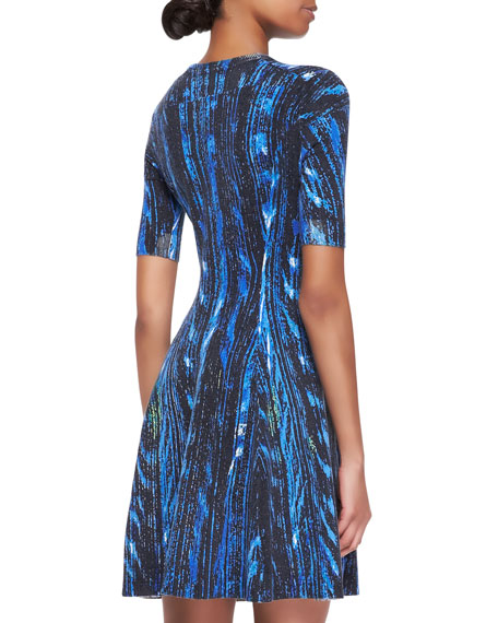 Distortion-Print A-Line Dress