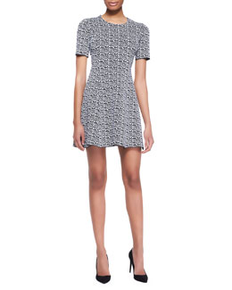 Kenzo Printed Tech-Knit Flare Dress