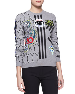 Kenzo Embroidered Multi-Icon Sweatshirt
