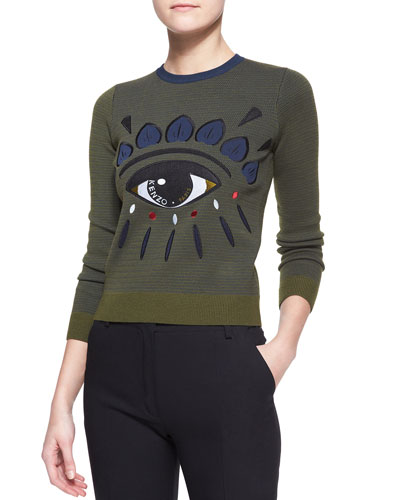Embroidered Knit Eye Top