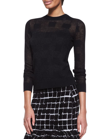 Square Knit Crewneck Sweater