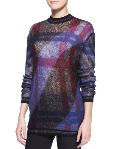 Mohair-Blend Check Sweater