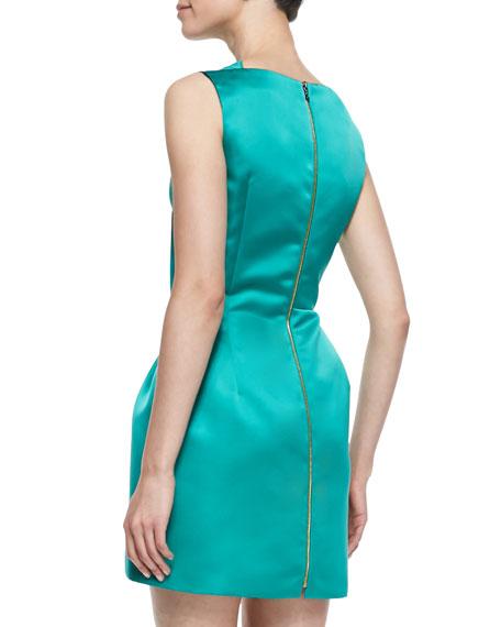 Zonda Sateen Drape-Neck Satin Dress