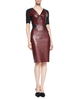 Roland Mouret Nabis Knit-Inset Leather Short-Sleeve Dress