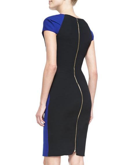 Nepa Cap-Sleeve Asymmetric Draped Dress, Royal Blue/Black