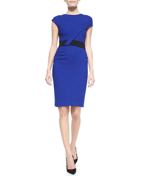 Nepa Cap-Sleeve Asymmetric Draped Dress, Royal Blue/Black