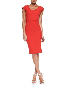 Roland Mouret Hirta Cap-Sleeve Dress with Folded Neckline, Poppy Red