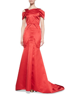Roland Mouret Cinnabar Satin Off-Shoulder Gown