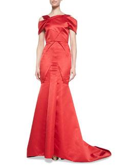 Roland Mouret Cinnabar Satin Off-Shoulder Gown