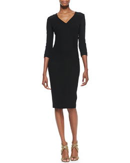 Roland Mouret Sharatan V-Neck Sheath Dress