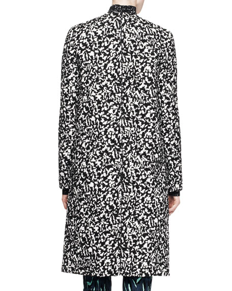 Collarless Jacquard Coat