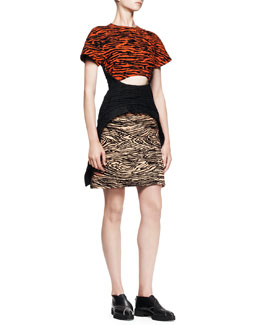 Proenza Schouler Flocked-Print Cutout Dress