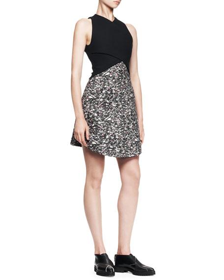 Wrap-Front Jacquard Combo Dress