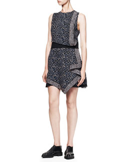 Proenza Schouler Sleeveless Printed Georgette Dress