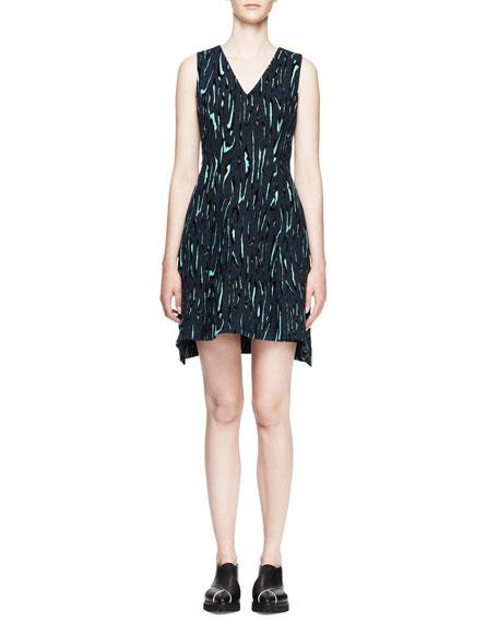 Sleeveless Printed Flocked Dress