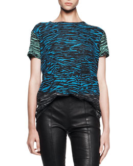 Proenza Schouler Short-Sleeve Flocked Tissue Tee