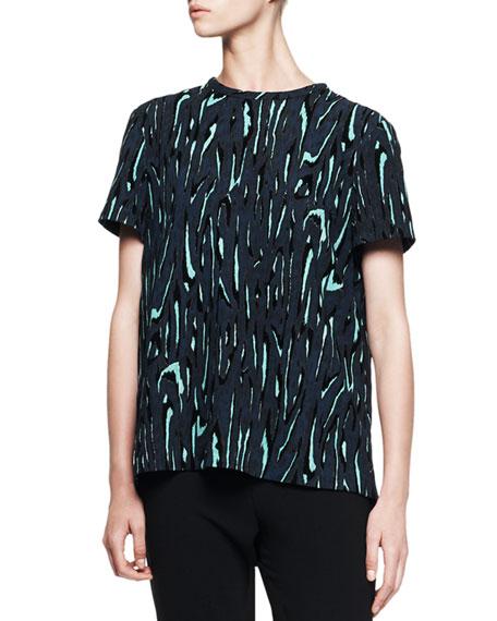 Short-Sleeve Printed Flocked Blouse