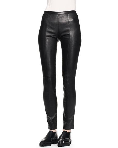 Stretch Leather Skinny Pants