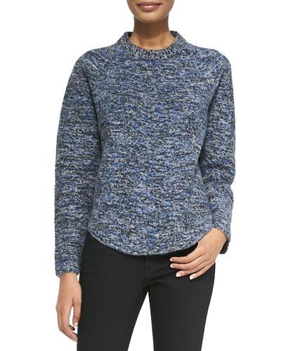 Proenza Schouler Speckled Wool-Blend Sweater, Blue/Gray